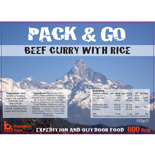 Pack N Go 600 Kcal Expedition Food Beef Curry & Rice