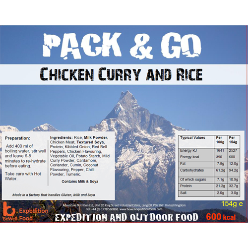 Pack N Go 600 Kcal Expedition Food Chicken Curry and Rice
