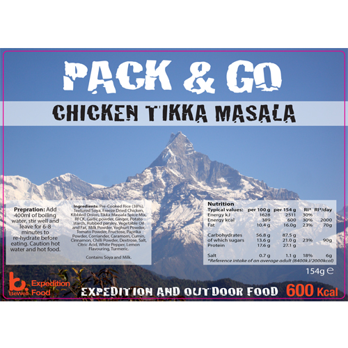 Pack N Go 600 Kcal Expedition Food Chicken Tikka Masala