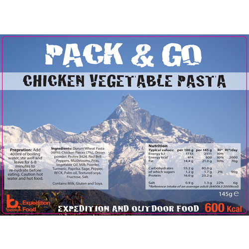 Pack N Go 600 Kcal Expedition Food Chicken Vegetable Pasta