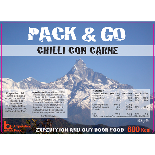 Pack N Go 600 Kcal Expedition Food Chilli con Carne