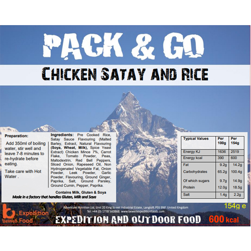 Pack N Go 600 Kcal Expedition Food Chicken Satay and Rice