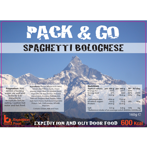 Pack N Go 600 Kcal Expedition Food Spaghetti Bolognese