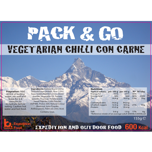 Pack N Go 600 Lcal Expedition Food Veggie Chilli con Carne