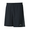 "RonHill Mens Momentum Twin 7"" Short Black/Charcoal Marl"