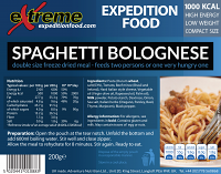Extreme Expedition Food Spaghetti Bolognese 1000 Kcal