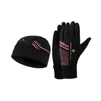 RonHill Beanie and Glove Set Black/Hot Pink