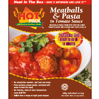 Hot Pack Meatballs and Pasta Box Meal