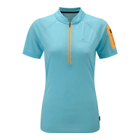 RonHill Ladies Infinity Short Sleeve Zip Tee Surf/Neon Peach