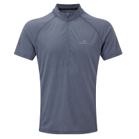 RonHill Mens Momentum Short Sleeve 1/2 Zip Tee Granite