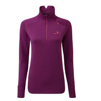 RonHill Ladies Stride Matrix Half Zip Tee Grape Juice/H Coral