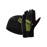 Ron Hill Beanie and Glove set Black and Yellow