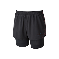 Ron Hill Women's Infinity Marathon Twin Short Black/Sky Blue