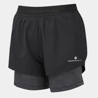 RonHill Womens Tech Twin Short Black and Charcoal marl