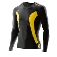SKINS DNAmic Mens Long Sleeve Top Black/Citron